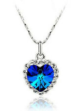 Stylish & Elegant Royal Blue Hearts of Oceans Crystal Necklace N81