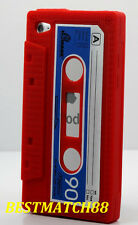for iPod touch 4th 4Gen itouch cassette tape soft silicone case red  & blue /