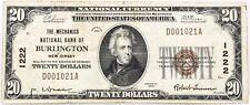 "$20 National ""Mechanics National Bank Burlington, NJ"" 1222 Series 1929 Very Good"