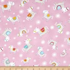 By 1/2 Yard Dala Horse Toss Pink ~ Free Spirit Fabric Happi Horses Dena Designs