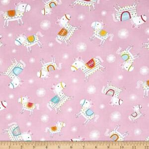 By 1/2 Yard Dala Horse Toss Pink ~ Free Spirit Fabric Happi Horses Dena Designs