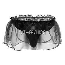 Sissy Men's Lace Ruffle Underwear Sexy Boxer Briefs Shors Underpants Black L