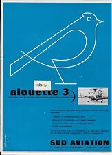 SUD AVIATION FRANCE ALOUETTE # 3  SIX PASSENGER HELICOPTER 1964 AD