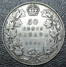 OLD CANADIAN COIN 1931 - 50 CENTS - .800 SILVER - George V - KEY DATE