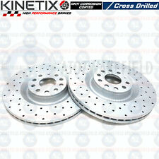 Golf Mk5 R32 Audi S3 Seat Leon Cupra R front kinetix drilled brake discs 345mm