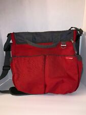 Skip Hop Duo Signature Diaper Messenger Bag Red With Gray Charcoal Accents