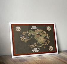 Avatar the last airbender map, print, poster, Anime, wall art, Movie, Manga