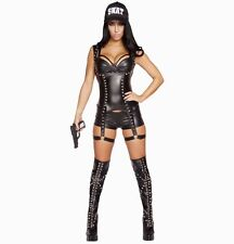 Adult Woman Costume Sexy SWAT Officer Black Size Medium 3 Pc Set