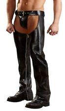 Leather Look Gay Men's Crotchless Chaps with Matching Thong Zips Down Each Leg