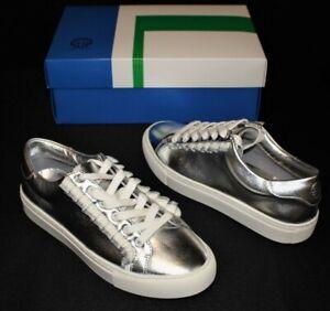 Tory Burch Sport Silver Metallic Calf Leather Ruffle Sneakers Size 7M NEW IN BOX