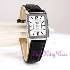 Swiss OMAX Slim Seiko Movt Silver Rhodium Pl Mirror Mineral Leather Watch SC7801