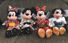 Tokyo Disneyland Mickey & Minnie Beanbag Plush Kimono Yukata 2 Pair Lot Of 4 NWT
