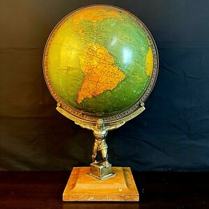 "Antique Unrivaled George F Cram World Terrestrial Atlas Globe No. 4, 12"" - RARE"