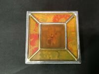 VINTAGE TRINKET BOX RING REAL FOUR LEAF CLOVER IN STAINED GLASS LID PEWTER GIFT