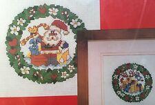 "Creative Expressions Santa OR Reindeer Wreath Cross Stitch Kit 10"" X 10"" NIP"