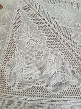 Amazing Mary Card? Vintage Border of Birds/Butterflies Hand Crochet Tablecloth