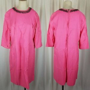 Vintage Filene's Pink Double Knit Beaded Jeweled Neckline Dress Womens M 50s MCM