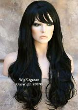Jet Black Wig Long Layered Wavy  Off center skin part with Bangs HSJO 1