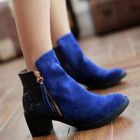Chic Womens Ladies Kitten Block Heels Zip Faux Suede Shoes Ankle Boots Plus Sz