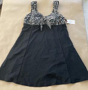Magisculpt Black/Print Swimdress Size UK 16 D1