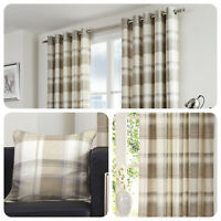 Fusion BALMORAL CHECK Natural Tartan 100% Cotton Eyelet Curtains & Cushions