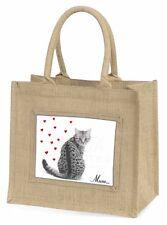 Silver Tabby Cat 'Mum' Large Natural Jute Shopping Bag Christmas Gift, AC-141BLN