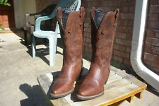 Women's 5 B M Justin Dark Brown Mustang Pointed Toe Western Cowboy Boots L2559