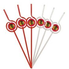 Chicago Blackhawks Team Sipper Straw - 6 Pack [NEW] NHL Party Tailgate Drink