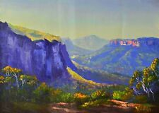 Original acrylic Australian landscape painting Govetts Leap Blue Mountains