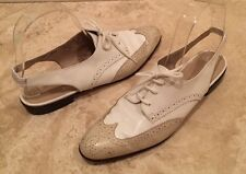SALVATORE FERRAGAMO Tan White Leather Spectator Sling Back Wingtip Oxford 7.5 3A
