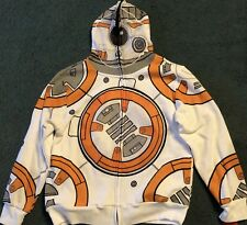 NWT Boys XL White/Gray/Orange BB-8 Print Star Wars Costume Hoodie Sweatshirt YXL