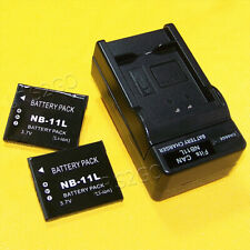 2x 680mAh NB-11L Battery Travel Home Charger for Canon PowerShot ELPH 340 HS USA