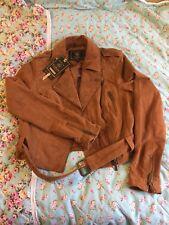 Lipsy Suede Leather Belted Biker Jacket BNWT RRP £135 Size 10 / 38