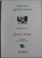 """Partition pour violon et piano, """"Quatre doigts"""" de Philippe Rougeron"""