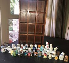 Vintage 12 Section THIMBLE DISPLAY & 46 THIMBLES - Variety