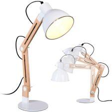 Lampada Tavolo Scrivania Inclinabile in metallo e Legno Luce E27 Design Moderno