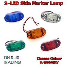 2 LED Side Marker Indicators Lights Lamp Lorry HGV Trailer Marine E-Marked 12v