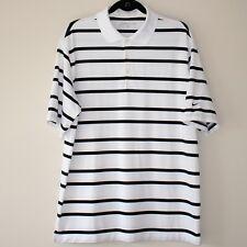 Nike Golf Dri Fit Mens Large White Black Striped Polo Golf Shirt