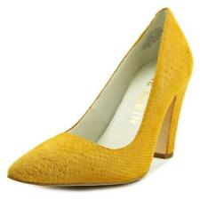 Zapatos de tacón de mujer de tacón alto (más que 7,5 cm) de color principal amarillo de piel