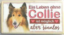"""Hunde-Schild aus Holz mit Magnet """"Collie"""" 17, 8,6 x 4,5 x 0,6cm aus D.Bayern"""
