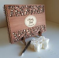 Wedding Guest Book | PERSONALISED | wooden timber | A5 Deluxe | Engagement gift