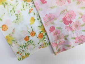 Vintage Pink Yellow Cottagecore Floral Pillowcase Lot - 32 Cotton Poly Bedding