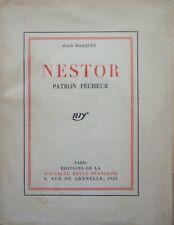 JEAN MARQUET NESTOR PATRON PECHEUR MOEURS DE PECHEURS PROVENCAUX NRF 1923 TL