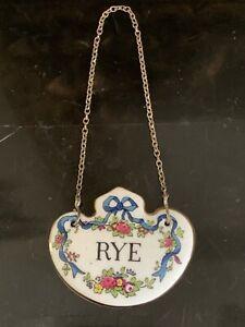 Staffordshire Porcelain Rye Decanter Bottle Tag / Label