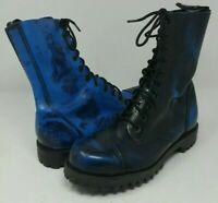 SHELLYS Rangers Black Blue 10 Eye Steel Toe Oxford Stomper Boots Mens Size 8
