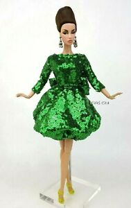 Handmade Green Cocktail Dress Outfit Gown Silkstone Barbie Fashion Royalty FR