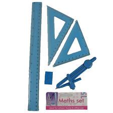 Maths Set 30cm Ruler Compass Eraser 2x set Squares BLUE