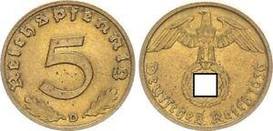 Drittes Reich 5 Pfennig 1936 D seltenes Jahr ss-vz 64361
