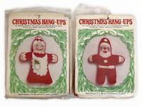 Vtg Santa Mrs Claus Christmas Hang-Ups Ornament Needlepoint Kits Banar Designs