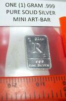 1 Gram .999 Pure Fine Solid Silver ~ Uncirculated Mini Art-Bar:  Letter ~ R ~